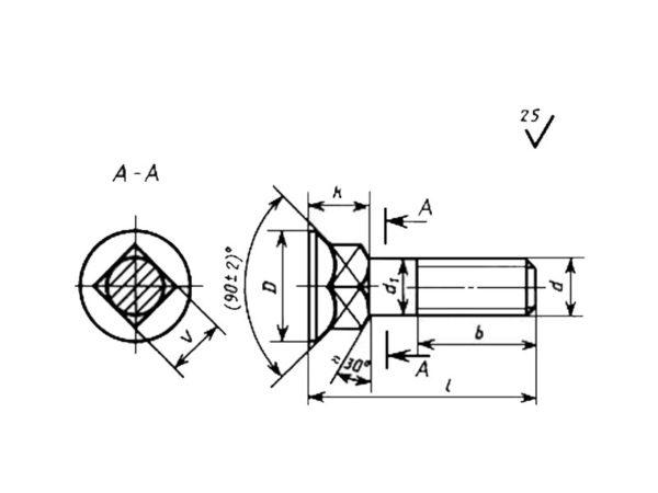 ГОСТ 7786-81 Болты с потайной головкой и квадратным подголовком класса точности С.