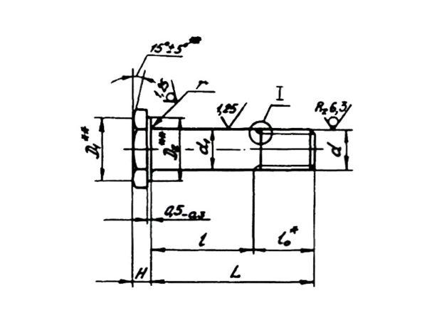 ОСТ 1 10570-72 Болты с уменьшенной шестигранной головкой с полем допуска диаметра стержня u8 из титанового сплава.