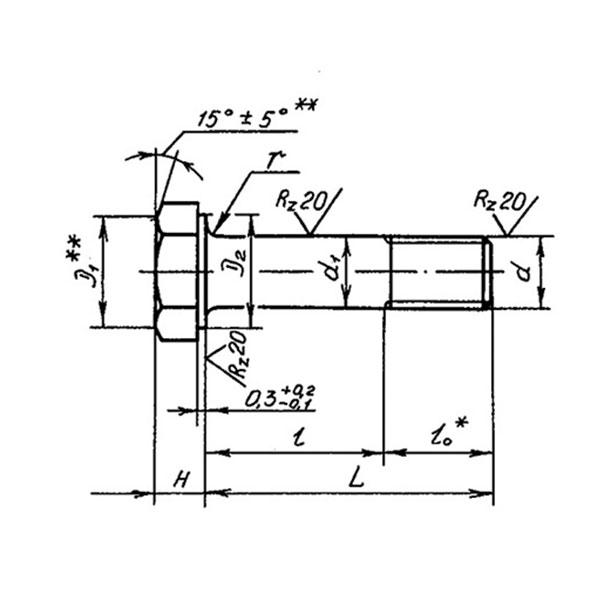 ОСТ 1 31124-86 Болты с шестигранной головкой с полем допуска диаметра стержня f9. Взамен 3021А.