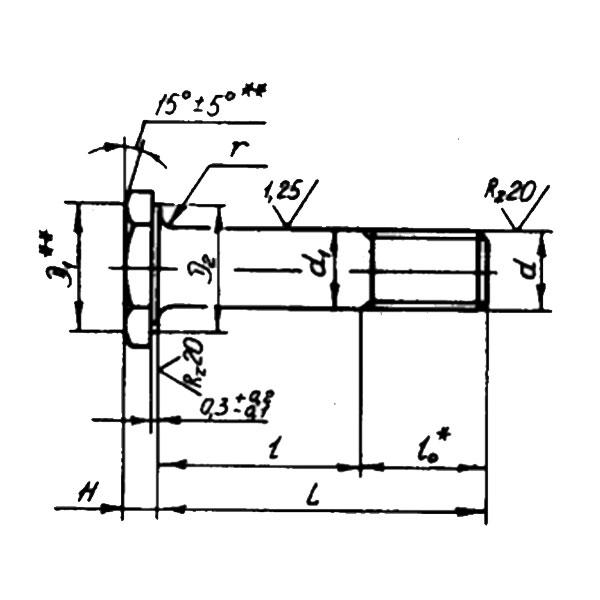 ОСТ 1 31132-80 Болты с уменьшенной шестигранной головкой с полем допуска диаметра стержня h8 и короткой резьбовой частью. Взамен 3024А.