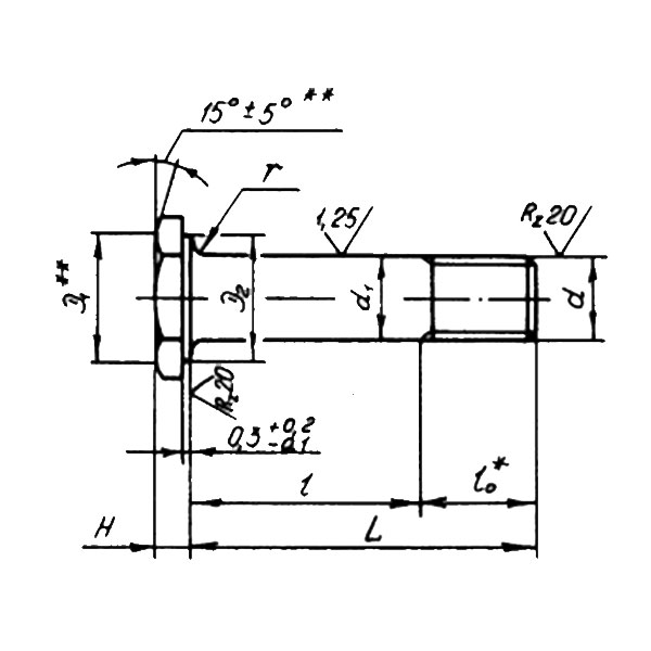ОСТ 1 31133-80 Болты с шестигранной головкой с полем допуска диаметра стержня f7 для шарнирных соединений. Взамен 3027А.
