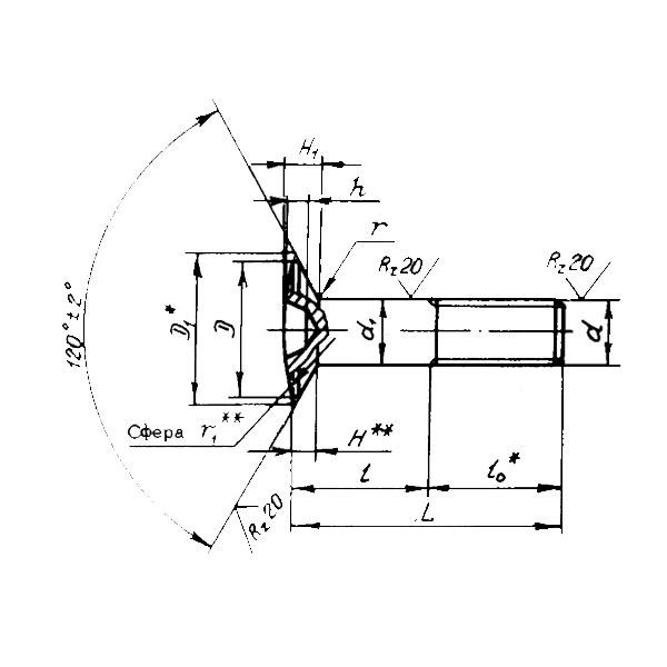 ОСТ 1 31198-80 Болты с полупотайной головкой углом 120 градусов с короткой резьбовой частью. Взамен нормаль 4982А.