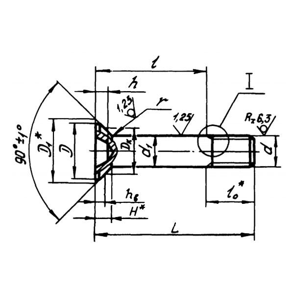 ОСТ 1 12086-77 Болты с потайной головкой углом 90 градусов из титанового сплава для соединений со специальной переходной посадкой.