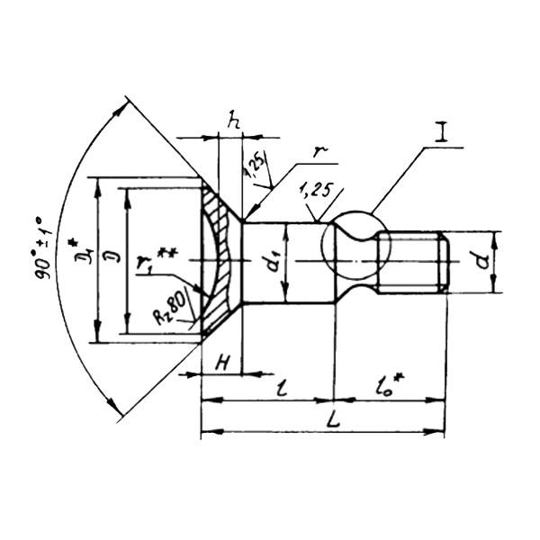 ОСТ 1 31056-80 Болты с потайной головкой углом 90 градусов ступенчатые. Взамен нормали 3086А.