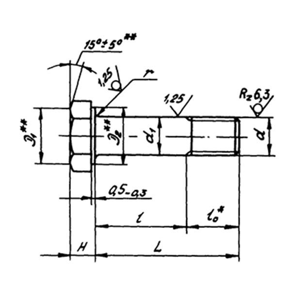 ОСТ 1 10569-72 Болты с шестигранной головкой с полем допуска диаметра стержня f9 из титанового сплава.