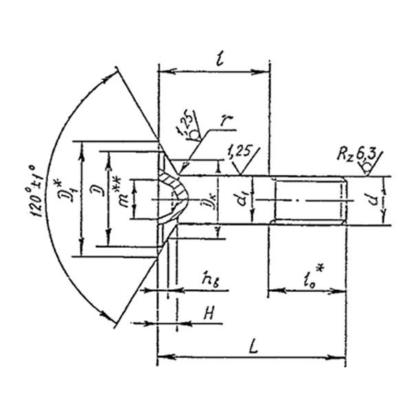 ОСТ 1 31244-88 Болты с потайной головкой углом 120 градусов с полем допуска диаметр стержня f9 из титанового сплава для композиционных материалов.