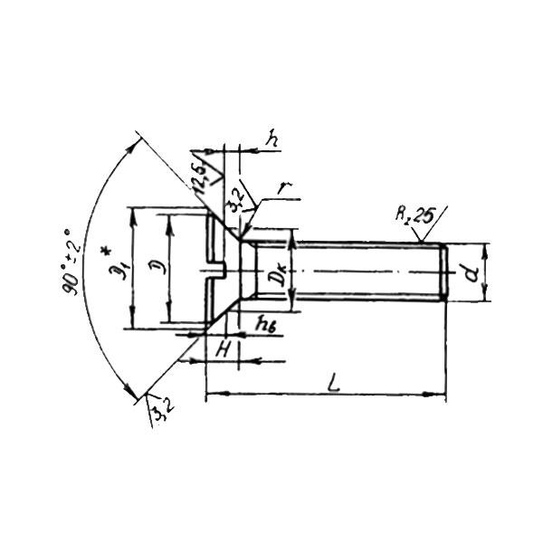 ОСТ 1 31546-80 Винты с потайной головкой углом 90 градусов с прямым шлицем. Взамен нормали 3212А.