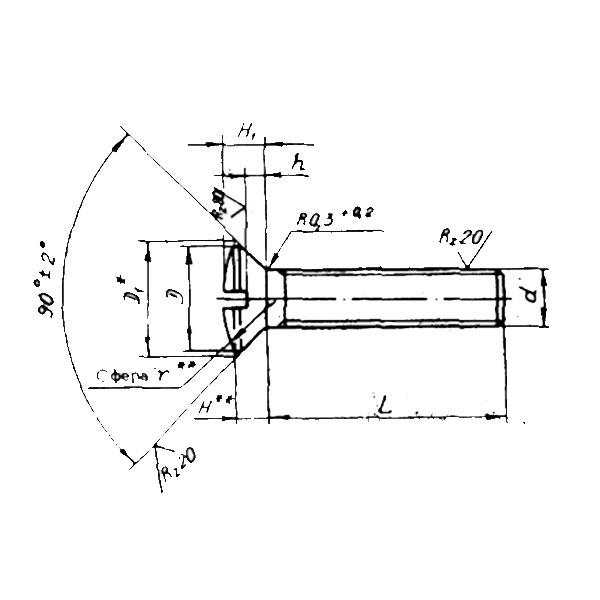 ОСТ 1 31563-80 Винты с полупотайной головкой углом 90 градусов. Взамен нормали 3192А ант.
