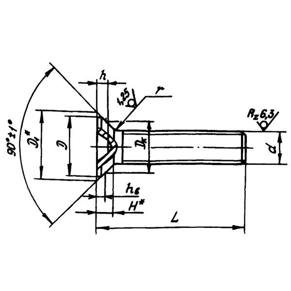 ОСТ 1 10577-72 Винты с потайной головкой углом 90 градусов из титанового сплава.