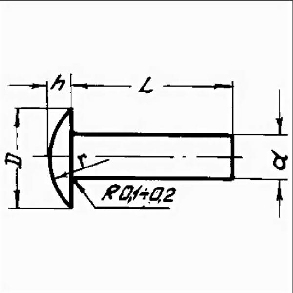 ОСТ 1 34036-78 Заклепки с уменьшенной плоско-выпуклой головкой