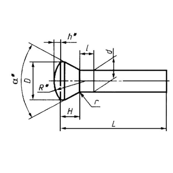 ГОСТ 10301-80 Заклепки с полупотайной головкой классов точности В и С