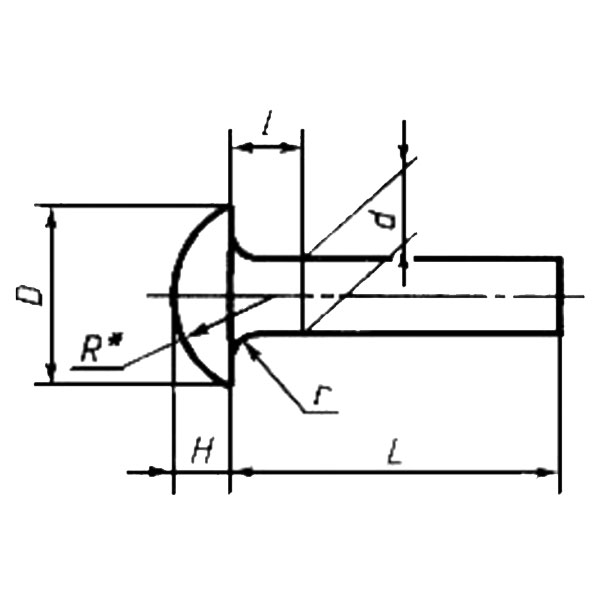 ГОСТ 10302-80 Заклепки с полукруглой низкой головкой классов точности В и С