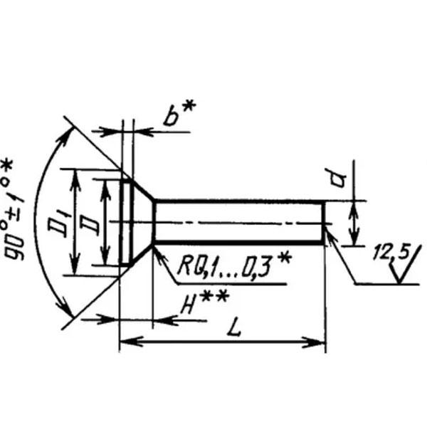 ГОСТ 14798-85 Заклепки с потайной головкой (угол 90°) (повышенной точности)