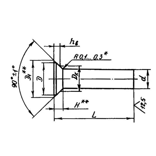 ОСТ 1 34086-80 Заклепки с потайной головкой с углом 90 градусов. Взамен нормали 3539А
