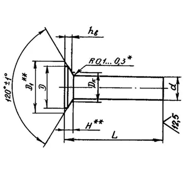 ОСТ 1 34097-80 Заклепки с потайной головкой углом 120 градусов. Взамен нормали 3552А
