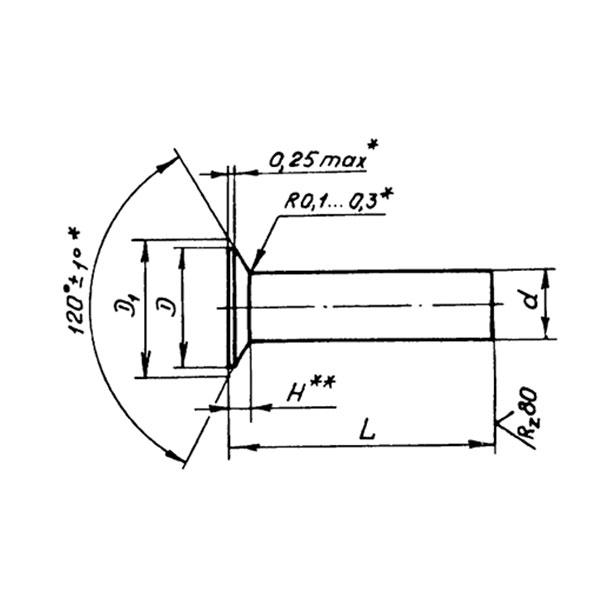 ОСТ 1 11647-74 Заклепки с уменьшенной головкой углом 120 градусов