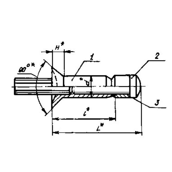 ОСТ 1 10813-72 Заклепки высокого сопротивления срезу с потайной головкой углом 90° из коррозионностойкой стали для односторонней клепки