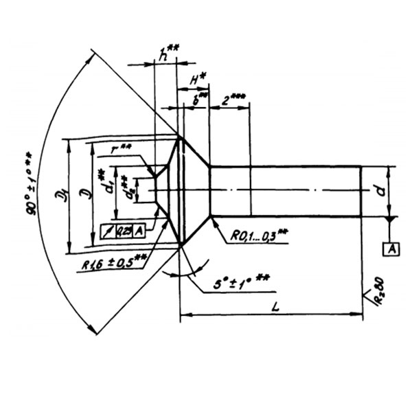 ОСТ 1 12020-75 Заклепки с потайной головкой углом 90 градусов с компенсатором